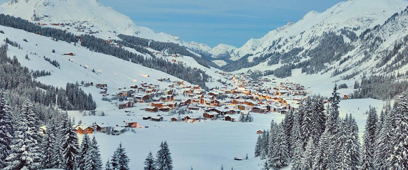 A long distance shot of the ski resort Lech in Austria in winter