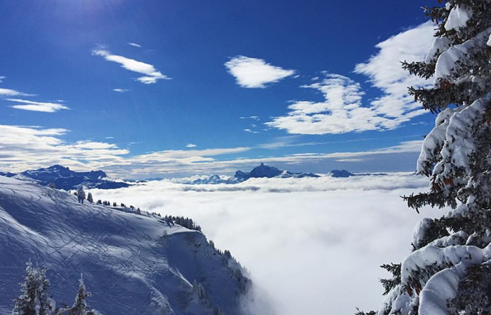 A view across mountains in Morzine France