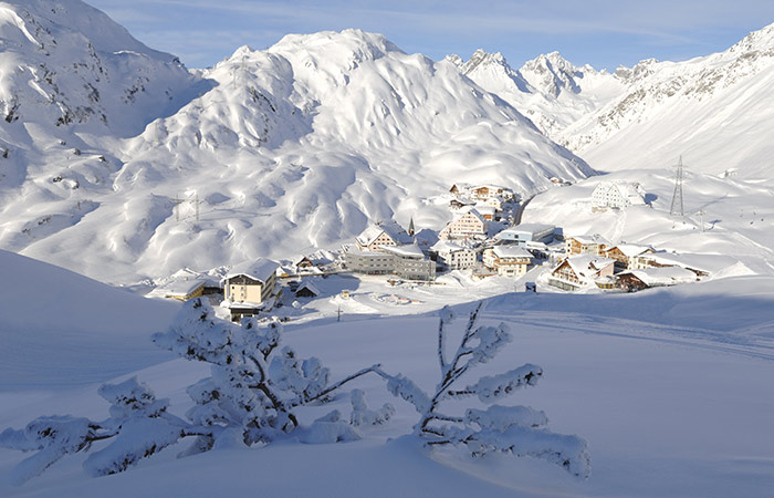 St. Anton in Austria on a sunny snowy day in winter
