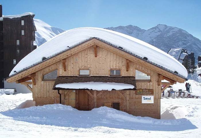 The exterior of Chalet Marie on a sunny snowy day in Avoriaz France