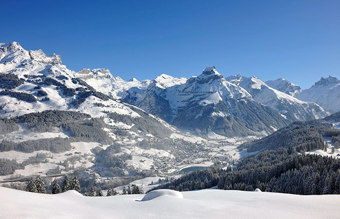 A view of Engelberg in Switzerland on a sunny winter day