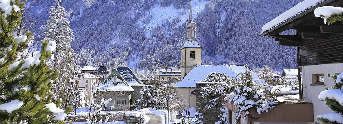 The town of Chamonix France on a sunny winters day