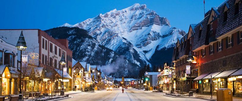 Banff Canada main street at sunset