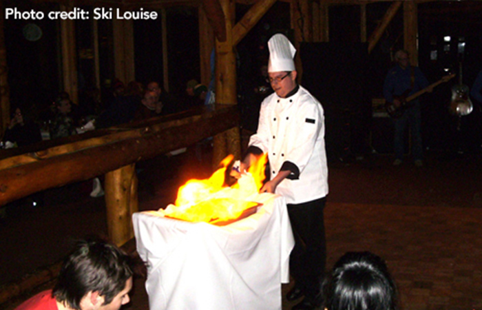 Torchlight dinner in Lake Louise Canada
