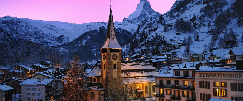 Zermatt, Switzerland at sunset