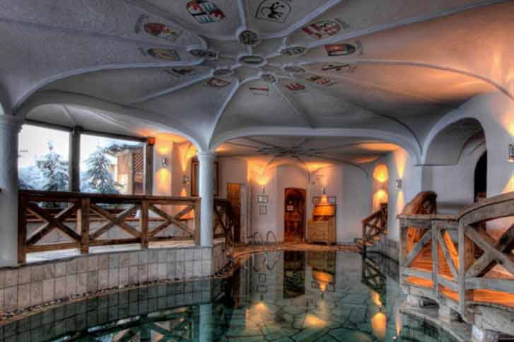 Hotel indoor swimming pool, mountain views