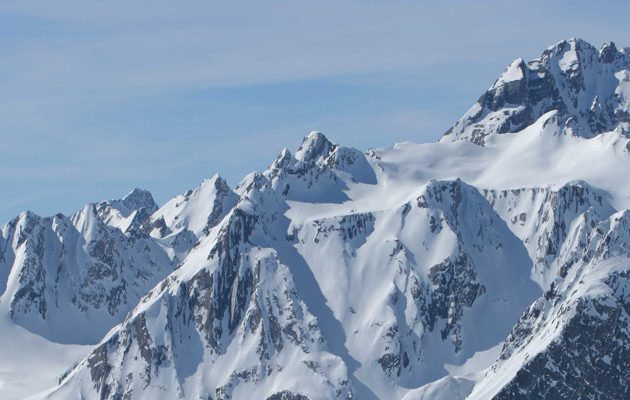 Alpine mountains covered in snow