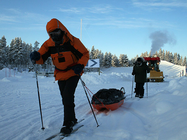 Sir Ranulph Fiennes on skis on an expedition