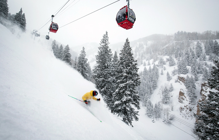 Aspen skiers and lifts