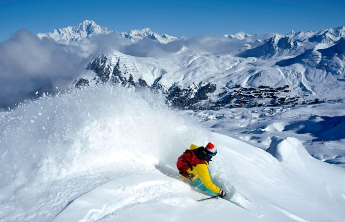La Plagne, skier in powder