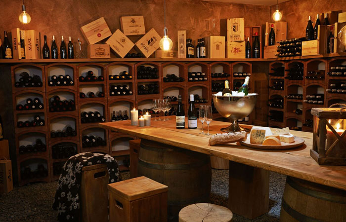 Dine in the wine cellar
