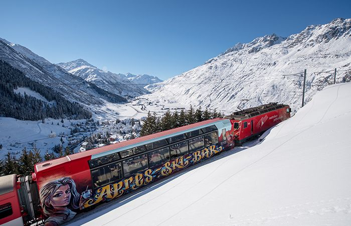 Apres-ski train in Andermatt ski resort