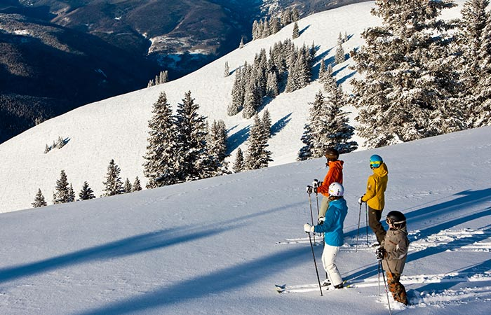Skiers overlooking a mountain in Whistler, Canada