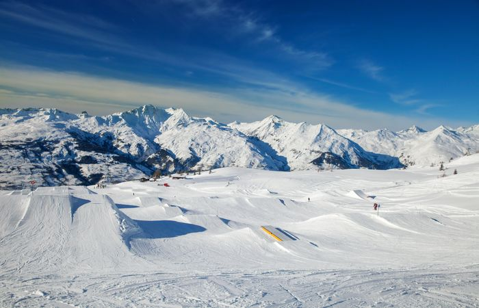 snowboarding in the French Alps Les Arcs